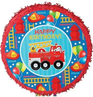Fire Engine Pull String Pinata - Fire Fighter Themed Birthday Party Supplies