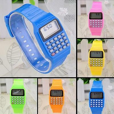 Kids Date Silicone Electronic Multi-Purpose Calculator Wrist Watch Xmas Gift
