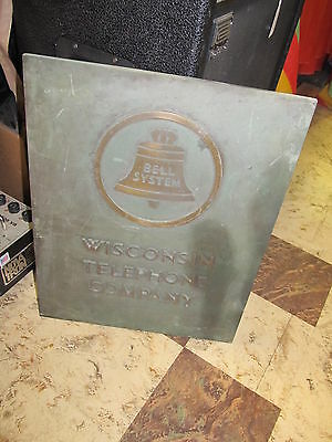 Antique Brass or Bronze Bell System Wisconsin Telephone Company Building Plaque