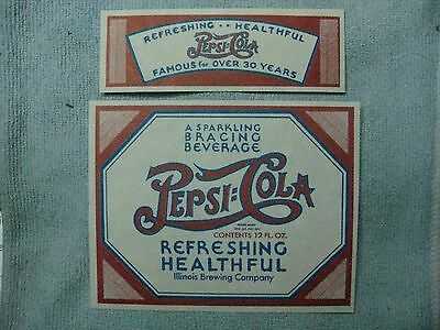 PEPSI VINTAGE PAPER BOTTLE AND NECK LABELS-1930,s AND 40,s  NEW OLD STOCK