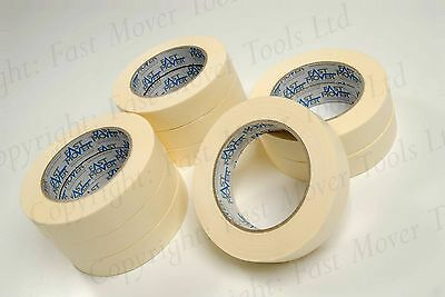 LOW BAKE MASKING TAPE BOX OF 36 ROLLS 1 INCH 24mm CAR BODY SPRAY 2 PACK 2K PAINT