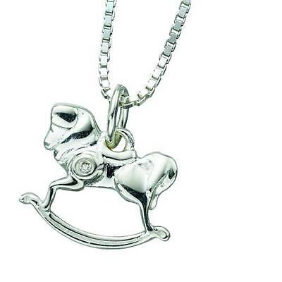 D FOR DIAMOND CHILDS Silver and Diamond Rocking Horse Pendant P3882