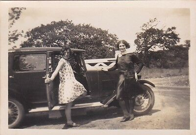 Old Photo And Negative Vintage Car Women Glamour A2