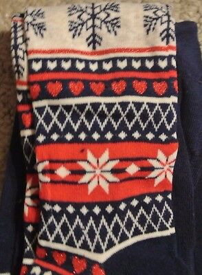 New Christmasy  tights Navy/Multi 5-6 years