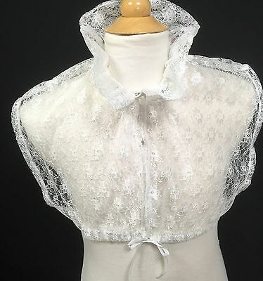 Regency, Jane Austen Inspired, Chemisette in Ivory Lace With Ruffle Collar