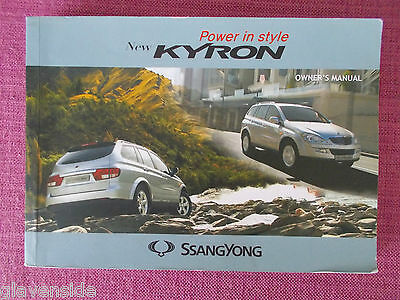 Ssangyong Kyron Owners Manual - Owners Guide - Owners Handbook (Ss 11)