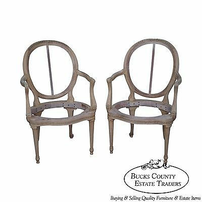 Quality Pair of French Louis XVI Style Painted Arm Chair Frames