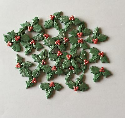 24 Edible Sugarpaste Icing Christmas Holly Cake Toppers