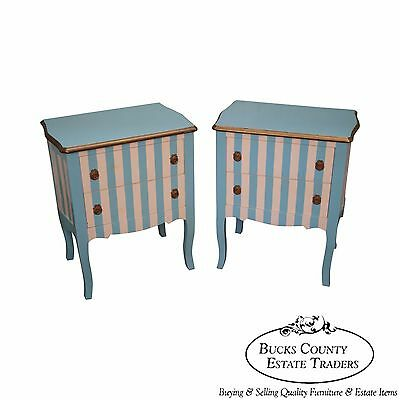Custom Pair of Blue & White Striped Painted French Louis XV Style Nightstands