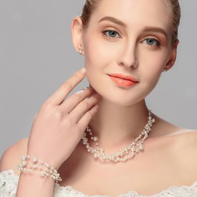 Bridesmaid Wedding Set, White Pearls & Necklace Stud Earring Bridal Jewelry