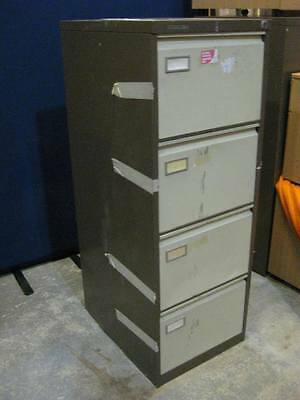 Filing Cabinet, 4 Drawer - 132cmH - Brown & Cream Metal -Vintage - Roneo Vickers