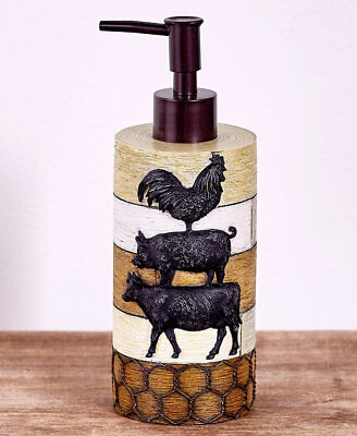 COW PIG ROOSTER SOAP PUMP HOLDER Country Cabin Barn Lodge Farm Life Rustic Bath