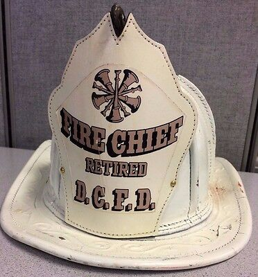 White Vintage Cairns & Brothers Fire Fighter Helmet, Fire Chief Retired DCFD