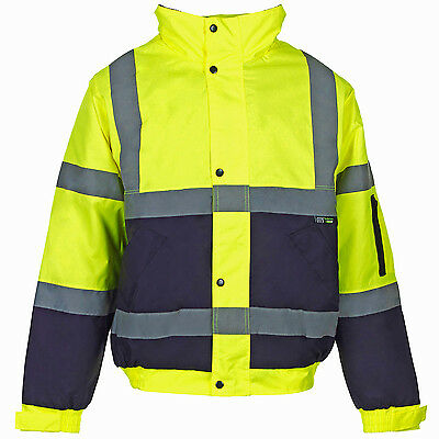 Mens Hi Vis Visibility Viz Bomber Jacket | 2 Tone |  Waterproof Safety Gear High