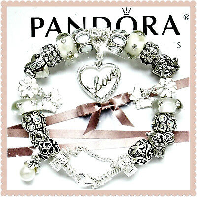 "Pandora Bracelet Silver with ""Love Story"" Wife Mom White European Charms New"