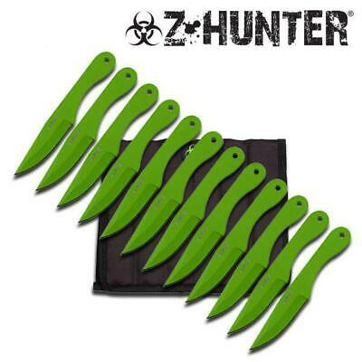 NEW 12 Set Green Zombie Hunter Hibben Style Throwing Knives