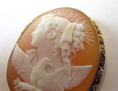 """CAMEO Antique SHELL """"DAY"""" Gold FRAME Fine"""