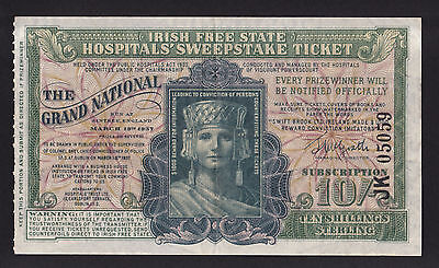 March 1937 Irish Free State Hospital's Sweepstake Ticket 10 Shillings Ireland