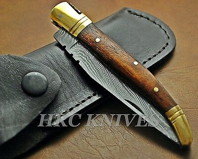 "Dh15 ~ 8.5"" Custom Hrc Damascus Laguiole Folding Pocket Knife - Usa"