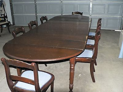 Antique cherry dining set - 8 rose back chairs, table extends to over 11ft