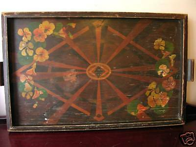 19C Antique Tray Hand-Painted Decadent Symbolist Art Nouveau Deco Occult Design