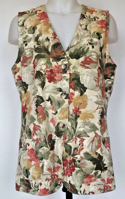 Orvis Autumn Floral Lightweight Cotton Canvas Button Front Vest Made in USA M