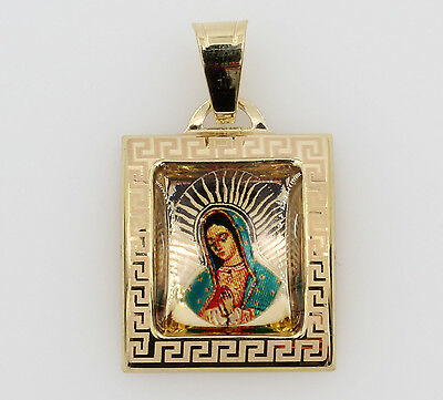 14K Real Yellow Gold Small Virgen Guadalupe Color Picture Square Charm Pendant