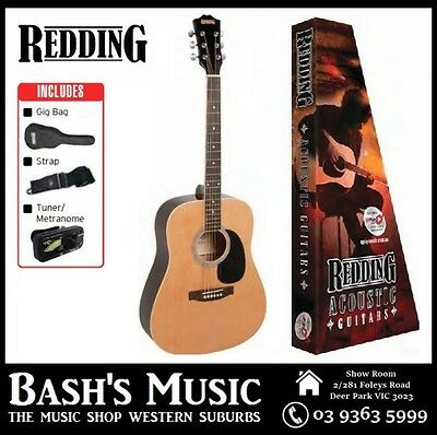 Redding Acoustic Guitar Starter Package with Bag + Tuner + Strap Natural