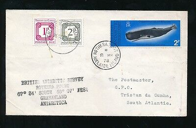 ANTARCTICA to TRISTAN DA CUNHA POSTAGE DUES 1978 BAT WHALE ROTHERA POINT