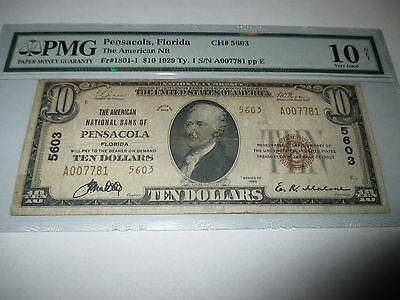 $10 1929 Pensacola Florida FL National Currency Bank Note Bill! Ch. #5603 PMG!