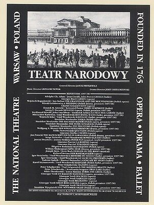1998 Teatr Narodowy The National Theatre Warsaw Poland Print Ad