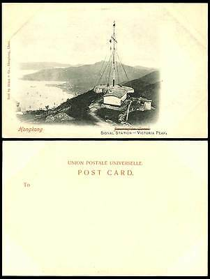 Hong Kong China c1900 Old Postcard SIGNAL STATION Victoria Peak Harbour Panorama
