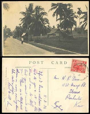 FMS Federated Malay States Tiger 4c. 1924 Old Postcard Street Scene Native House