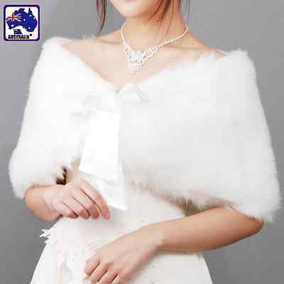 Plush Fur Faux Wedding Women Wrap Shrug Bolero Jacket Bridal Coat CSCA34400