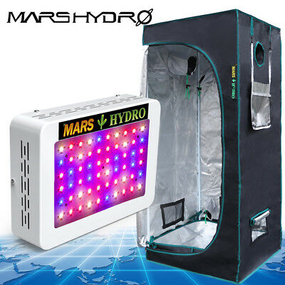 300W Led Grow Light + 27''×27''×63'' Grow Tent Kits for indoor veg/flower plants