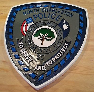 Police North Charleston 3D routed carved custom wood patch plaque sign