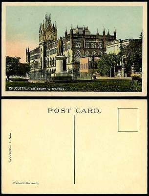 India Old Colour Postcard HIGH COURT & STATUE Calcutta Cattle Law Courts Justice
