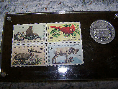 1972 Wildlife Conservation Commemorative Stamps and Coin in a case