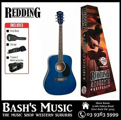 Redding Acoustic Guitar Starter Package with Bag + Tuner + Strap Blue