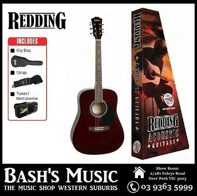 Redding Acoustic Guitar Starter Package with Bag + Tuner + Strap Red