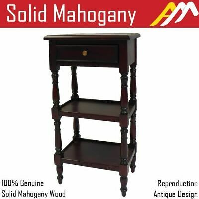 Solid Mahogany Wood Side Table 3 Tier Antique Reproduction Style