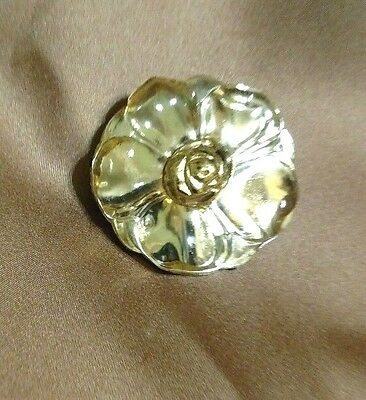 Vintage KENZO Pin/Pendant Lucite Flower Set On Gold.  Free Shipping