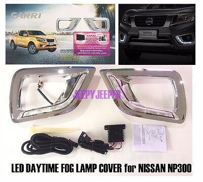 Led Daytime Drl Fog Lamp Light Trim Cover For Nissan Navara Np300 D23 2015 2016