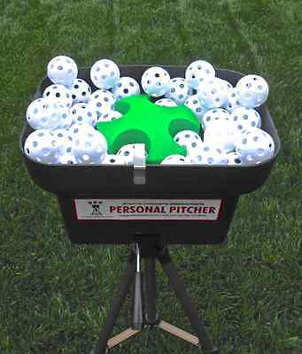 Hit on a Personal Pitcher Pitching Machine with 24 balls. Includes 4 hr. battery