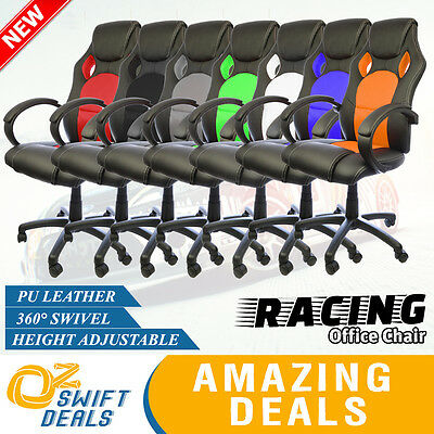 Racing Office Chair PU Leather Seat Executive Adjustable Computer Gaming Deluxe