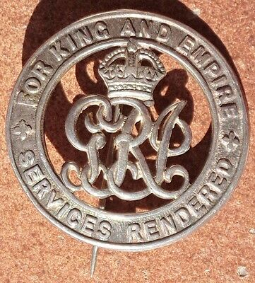 Wwi For King & Empire Services Rendered Badge #a99258