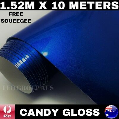 1.52M X 10M Candy Blue Gloss Metallic Vinyl Car Wrap Film Air Bubble Free