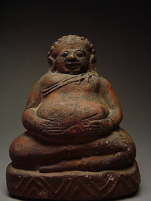 RARE TERRACOTTA CLAY BUDDHIST DISCIPLE 'PHRA SANGKAJAI' 19th C. THAILAND