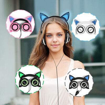 Foldable Cat Ear Headphone LED Music Lights Wired Earphone Rechargeable Headset