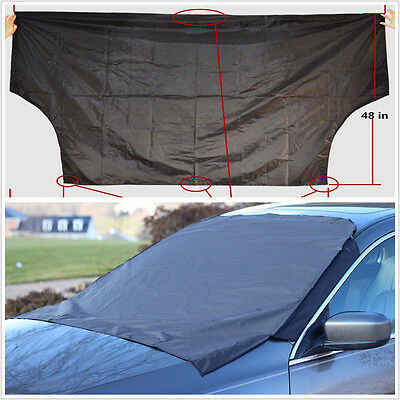 Black Car Front Windscreen Snow Protect Cover & Sun Shade Protector With Magnet